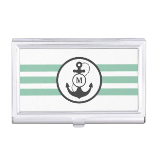 Light Green Stripes with Anchor and Mongram Business Card Holder