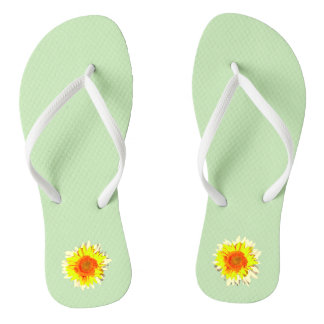 Light Green Sunflower on Flip Flops