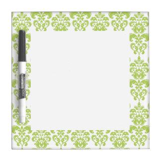 Light Green Vintage Damask Pattern 2 Dry Erase White Board