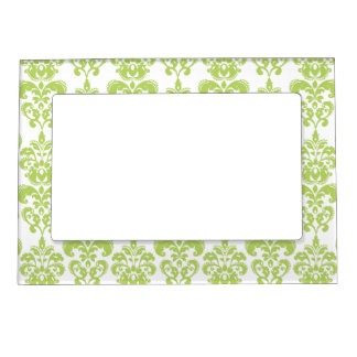 Light Green Vintage Damask Pattern 2 Magnetic Picture Frame