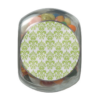 Light Green Vintage Damask Pattern 2 Glass Candy Jar