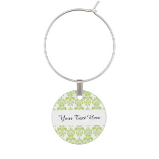 Light Green Vintage Damask Pattern 2 Wine Charm