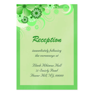 Light Green Wedding Reception Enclosure Cards Pack Of Chubby Business Cards