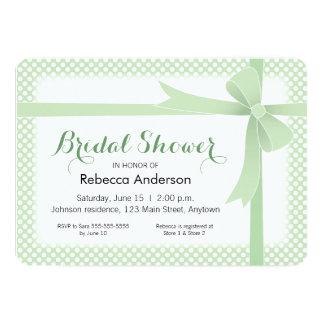 Light Green & White Dots Bridal Shower 13 Cm X 18 Cm Invitation Card