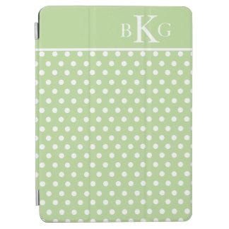 Light Green White Polka Dots Custom Monogram iPad Air Cover