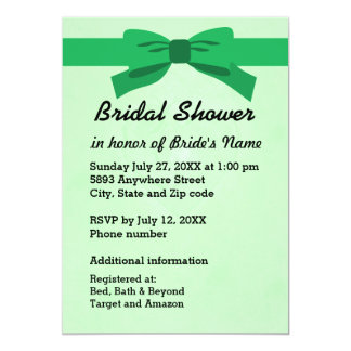 Light Green with Heart & Green Bow Bridal Shower 13 Cm X 18 Cm Invitation Card