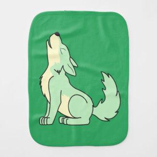 Light Green Wolf Pup Howling Burp Cloth