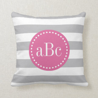 Light Grey and Pink Monogram Throw Pillow