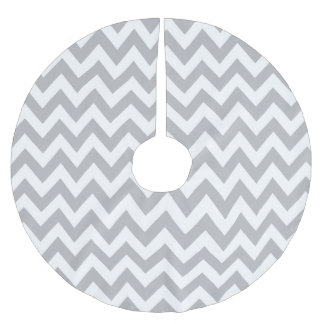 Light Grey and White Chevron Christmas Tree Skirt Brushed Polyester Tree Skirt