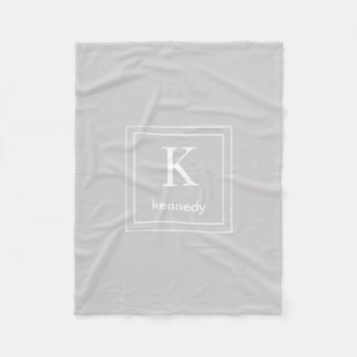 Light Grey and White Custom Monogram Name Fleece Blanket