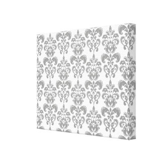 LIGHT GREY AND WHITE DAMASK PATTERN 2 CANVAS PRINT