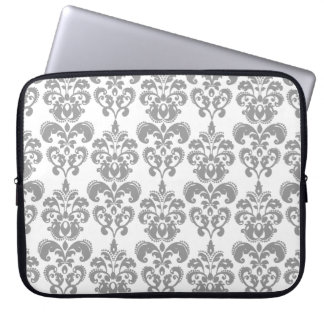 LIGHT GREY AND WHITE DAMASK PATTERN 2 LAPTOP SLEEVE