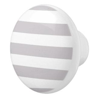 Light Grey and white Stripes Ceramic Knob