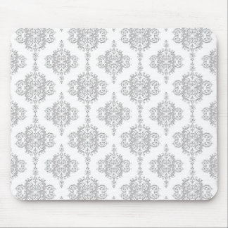 Light Grey and White Vintage Damask Mouse Mat