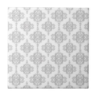 Light Grey and White Vintage Damask Tile