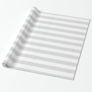 Light Grey and White XL Stripe Pattern Wrapping Paper