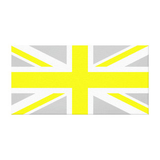 Light Grey and Yellow Union Jack Canvas Print