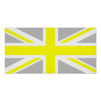 Light Grey and Yellow Union Jack Poster