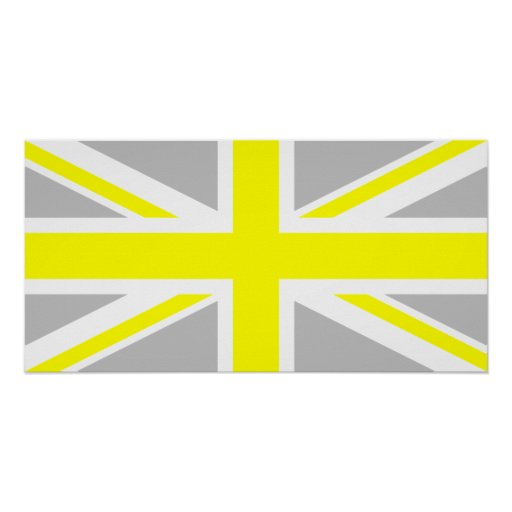 Light Grey and Yellow Union Jack Posters