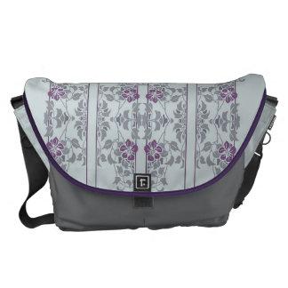 Light grey art nouveau floral pattern commuter bags