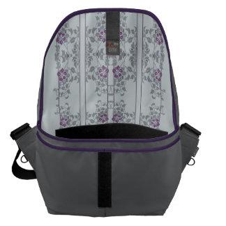 Light grey art nouveau floral pattern courier bags