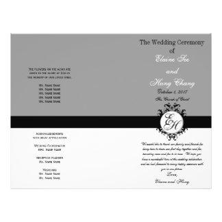 Light Grey Black Wedding Program Chic Monogrammed 21.5 Cm X 28 Cm Flyer