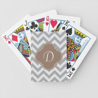 Light Grey Chevron Custom Monogram Bicycle Playing Cards