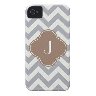 Light Grey Chevron Custom Monogram iPhone 4 Case