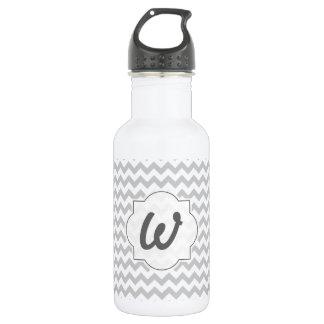 Light Grey Chevron - Custom Text 532 Ml Water Bottle