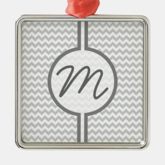 Light Grey Chevron - Custom Text Silver-Colored Square Decoration