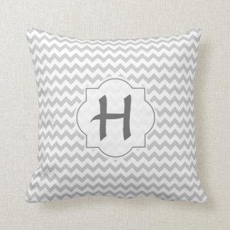 Light Grey Chevron - Custom Text Throw Cushion