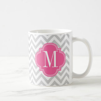 Light Grey Chevron Zigzag Personalized Monogram Coffee Mug