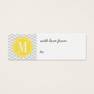 Light Grey Chevron Zigzag Personalized Monogram Mini Business Card