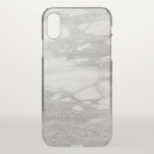 Light Grey Faux Marble White Glitter iPhone X