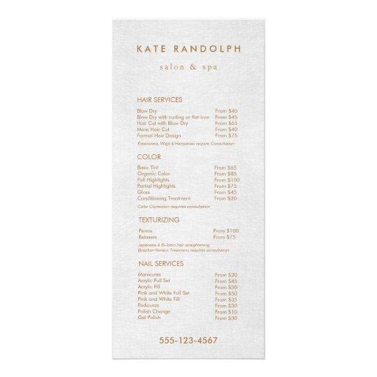 Light Grey Linen Salon Spa Price List Service