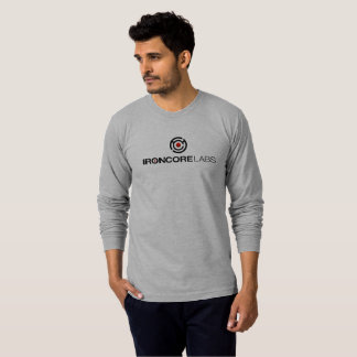 Light grey long sleeved IronCore on front T-Shirt