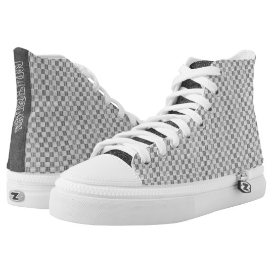 Light Grey Louis Vuitton style High Top Printed Shoes