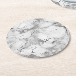 light grey marble stone round paper coaster