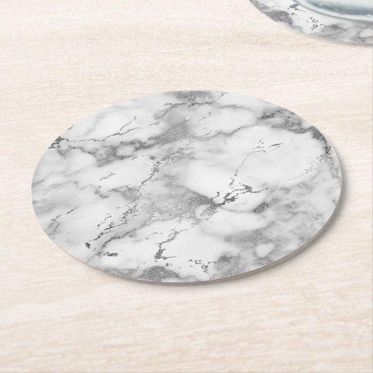 light grey marble stone round paper coaster
