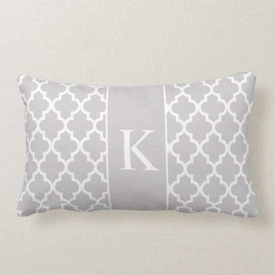 Light Grey Moroccan Custom Monogram Lumbar Cushion