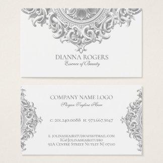 Light Grey Ornate Vintage Mandala Swirls Business Card