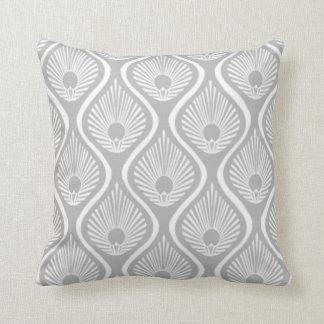 Light grey peacock art deco design cushion