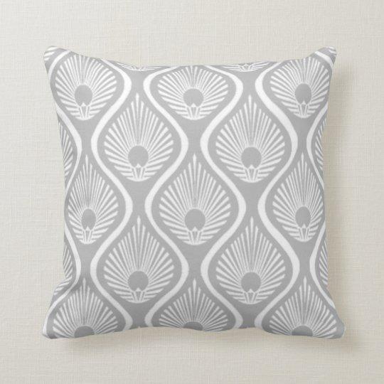 Light grey peacock art deco design throw pillow