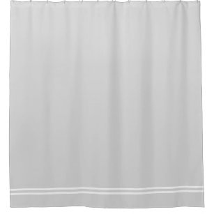 Light Grey Shower Curtain Double Line Border