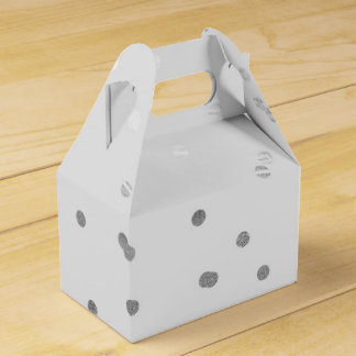 Light Grey & Silver Shiny Confetti Dots Favor Wedding Favour Box