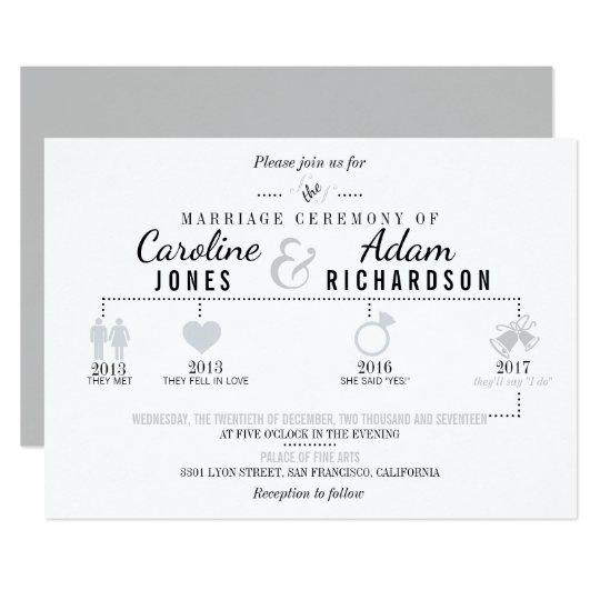 Light Grey Timeline Wedding Invitations