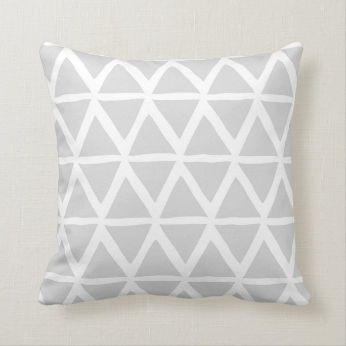 Light Gray Decorative Pillow : Light Grey Triangles Geometric Decorative Pillow Zazzle