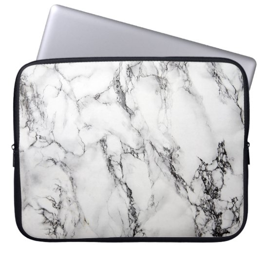 Light Grey White Black Marble Stone Laptop Sleeve