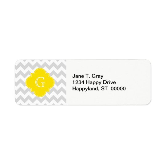 Light Grey Wht Chevron Yellow Quatrefoil Monogram