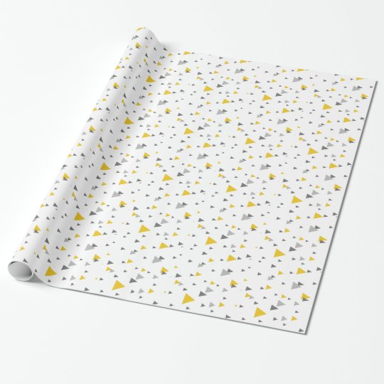 Light grey & yellow triangles geometric pattern wrapping